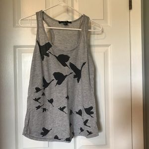 Forever 21 grey and black bird tank top